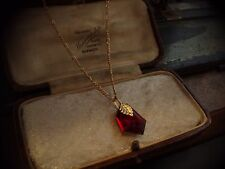 VINTAGE gioielli Ruby Red geometrico a goccia cristallo catena collana con pendente in oro