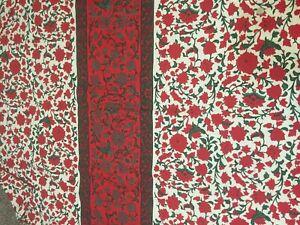 VERA NEUMANN OBLONG TABLECLOTH~60 X 102~RED & GREEN JACOBEAN FLORAL~COTTON~Holid