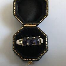 Ladies Vintage 9 Carat Gold iolite Three-Stone Ring Size N Weight 3.52g