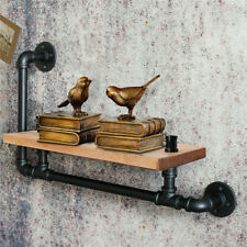 Industrial Pipe Wooden Wall Shelf Hanging Mounted Shelves Rustic Display Unit