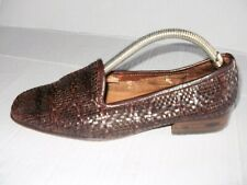 SESTO MEUCCI WOMEN'S BROWN WEAVE LEATHER LOAFERS SIZE 7.5 M FROM ITALY..