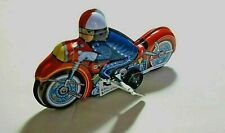 "NIB Vintage Tin Toy New Sanko 6"" Wind Up Auto Turn Motorcycle Bike Made in Japan"