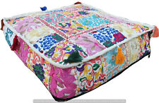 Indian Handmade Patchwork White Cotton Ottoman Art Footstool Floor Pouf Cover