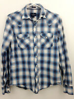 American Eagle Pearl Snap Shirt Mens Small Blue White Plaid Western Vintage Fit