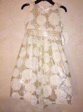 Girl's SZ 8 American Princess Ivory Cream Sequin Special Occasion Wedding DRESS