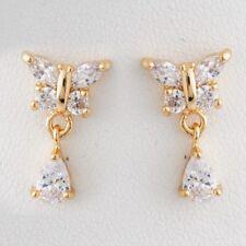 Yellow Gold Plated Clear Pear Butterfly Drop/Dangle Stud Women's/Teens Earrings