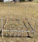 Vtg Antique Shabby Chic full  Iron Bed Frame Farmhouse with rails headboard