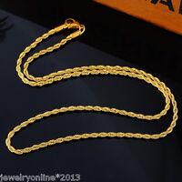1 Herren Damen Vergoldet Edelstahl Kordelkette Halskette Collier 3.7mm 56cm