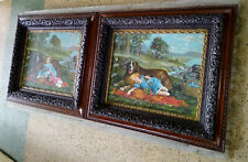 2 Antique Victorian Layered Oak Frames Girl Dog Neufoundland Wide Awake Prints