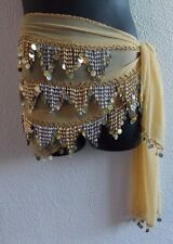 Belly Dancer Scarf Sash Coin Dangle Sheer Wrap Shawl Long Plus Size Belt NWT 388