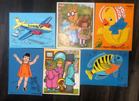 Lot of 6 Vintage Wooden Puzzles Playskool Judy Instructo