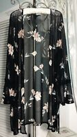 NEW ~ Plus Size 2X Black Floral Mesh Boho Bell Sleeve Open Duster Topper Kimono