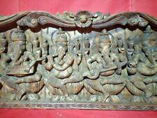 Vintage Musical Ganesh Hindu Temple Wall Panel Vintage Ganesha Wooden Sculpture
