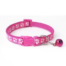 New Small Dog Puppy Pet Collar Adjustable Nylon Paw Print Bright Pink