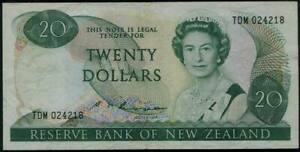 New Zealand Queen Elizabeth II. $ 20 Banknote 1985-89 #173b