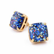 KATE SPADE 12K Gold-Plated Blue Epoxy Glitter Square Stud Post Earrings NEW