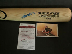 Vladimir Guerrero Jr Blue Jays Signed Engraved Bat JSA WITNESS COA Blonde .
