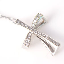 Beautiful Solid White Gold 18k Cross Pendant with .25 ct Diamonds