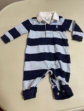 New listing Ralph Lauren Navy Blue/Light Stripe With Snaps Romper Collar Size 3m Boys
