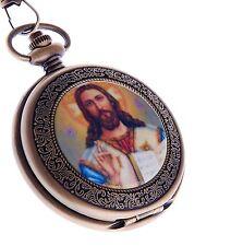 Jesus Christ Pocket Watch Quartz With Chain Full Hunter Reloj de Bolsillo Xmas