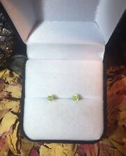 Genuine rare natural Yellow Green Sphene 3mm 14k yellow gold stud earrings ✨
