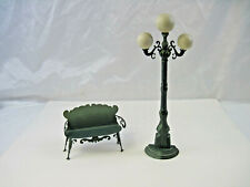 Two (2) Rustic Home Decoration Pieces Triple Globe Lamp Post Park Bench