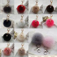 Porte-clé Pompon Pendentif Boule fourrure Bijou perle Accessoires de sac voiture