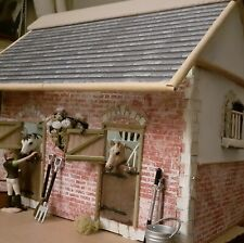 More details for handmade stable block with schleich horse, groom, and accessories.