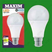2x 16W (=100W) GLS BC B22 A70 LED Light Bulb Lamp, 4000K Cool White 1520Lm
