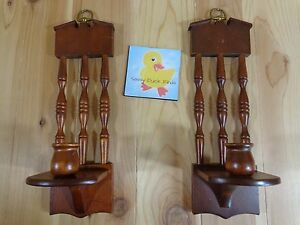 "Wood Sconce Candle Holder Set of 2 Brown Spindles 14"" x 4"" Mid Century Modern"