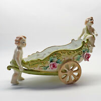 Vintage Cherubs porcelain Ceramic Cart Pearlized Planter LEFTON 810 NM Japan