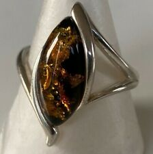 LARGE IMPRESSIVE UNUSUAL STERLING SILVER RING WITH AMBER Size Q