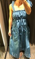 ZARA NEW BLUE LONG A-LINE MIDI DRESS STRAPPY RUFFLES ELASTIC VINTAGE SIZE XS-XXL