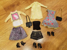 Barbie Doll Clothes Lot Fashion Outfits Black and Yellow Clothing Shoes Purses