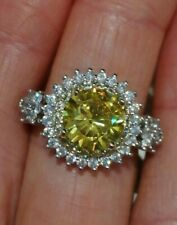 Silver plated Art Deco / Vintage 1.5 yellow white Sapphire Cocktail Ring N