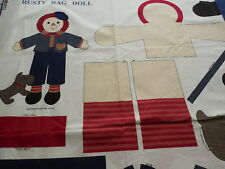 Vintage Rusty Rag Doll Fabric Panel with Clothes & Scottie Dog