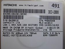 1TB Hitachi HDS721010CLA322 | P/N: 0F10383 | MLC: JPT39C | FEB-2010  #490