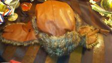 Faux Leather w/ Fur Bomber Trapper Aviator Russian Winter Hat w/ Ear Flaps Brown