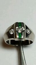 14k White Gold Man's  Diamond Ring With Emerald Accents