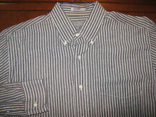 Lord & Taylor Gray-White-Red Striped 100% Cotton Sport Shirt Size L