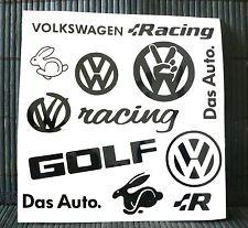 Kit 11 adesivi Volkswagen decal sticker racing rabbit golf das auto vw dub set