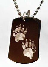 Bear Forest Animal Foot Print Paws Walking Dog Tag Metal Chain Necklace Jewelry