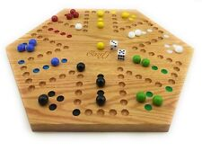 Solid Oak Wood Double Sided Aggravation Marbles Board Game Hand Painted 16 inch