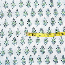 10 Yards Hand Block Print 100% Cotton Fabric Indian Sanganeri Printed Fabric A3