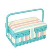 Piccola scatola per cucito rettangolare con manico di vimini, COPERCHIO IMBOTTITO, e Metallo Fibbia