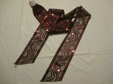 Ladies Zig-Zag Sequin Tie Scarf  in Wine/Burgundy