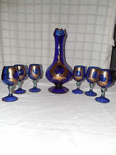 Murano cobalt blue w/gold wine, liquor drink set, pitcher & 6 goblets