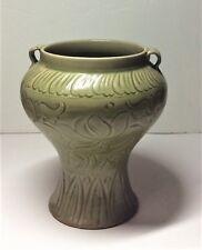 Antique Chinese Yuan Dynasty Longquan Celadon Glaze Floral Body Porcelain Vase