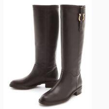 Salvatore Ferragamo Fersea Gancini Knee High Riding Boot Brown Leather US 6 $850