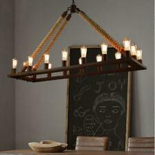 Industrial Hemp Rope Chandelier 16-Light Wrought Iron Pendant Ceiling Fixtures
